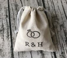 30x Vintage Wedding Favour Bags Personalised Wedding Gift Bags Linen Favours Bag