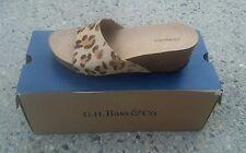 "Bass ""Mel"" Wedges Shoes Slides sandals sz 6.5 leopard/cheetah calf hair new $110"