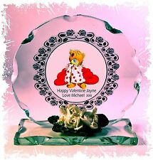 Valentine Kiss Photo Cut Glass Round Frame Plaque Limited Unique Tatty Teddy  #1