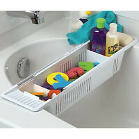 Kids Bath Toy Caddy Bathroom Organizer Holder Adjustable Storage Soap Dish White