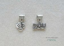 I Love Sewing Buttons Quilter Charms for Euro Bracelet Add On Charms Large Hole