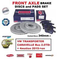 FRONT BRAKE PADS + DISCS for VW TRANSPORTER CARAVELLE Bus 2.0TDi 4motion 2015-on