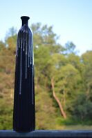 Tall Black With Tan Paint Drip Glazed Pottery Vase