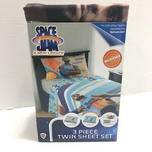 Space Jam Microfiber 3 Piece Twin sheet Set Flat Fitted 1 Pillowcase