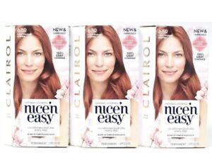 3 Clairol Nice n Easy 6.5R Light Radiant Auburn Blend Tones Highlights Permanent