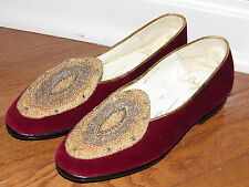 b50bbd4c4b5 Belgian Shoes Red Velvet Gold Beaded Midinette Loafers size 4 B 5.5 US