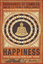 BUDDHA THOUSANDS OF CANDLES HAPPINESS 24X36 POSTER PEACE BLESS GOD RELIGION LOVE