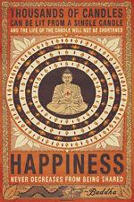 BUDDHA HAPPINESS 24X36 POSTER PEACE BLESSED GOD MINDFULLNESS RELIGION LOVE JOY!!