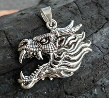 New 925 Sterling Silver Dragon Head Necklace Pendant Game of Thrones Jewelry
