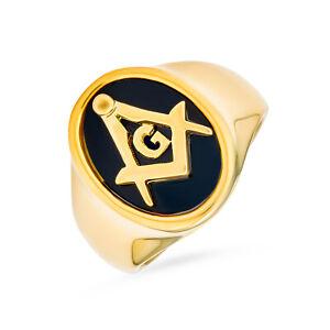 Black Oval Mens Signet Freemason Masonic Ring Stainless Steel