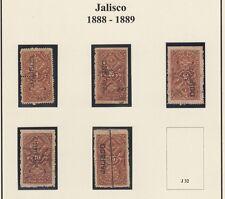 MEXICO, 1888-89. Revenue Jalisco Renta JA27-31, Mint/Used