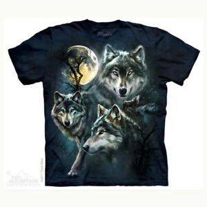 Mountain Adult T-shirt Moon Wolves Collage
