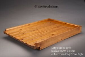 LARGE RAISED wooden pine worktop draining board for belfast/butler sink drainer