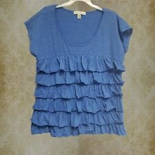 French Laundry Blue Ruffled Womens Shirt Top Blouse  Size XL