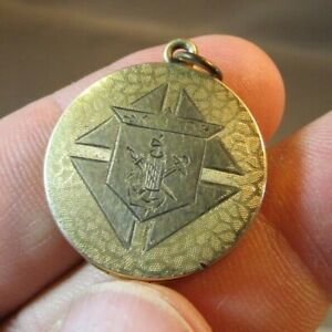 RARE VICTORIAN KofC KNIGHTS Of COLUMBUS FRATERNAL GOLD LOCKET FOB PENDANT