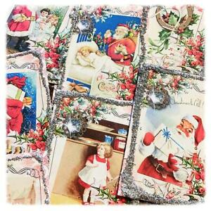 9 Vintage Shabby Chic Christmas Embellishments Glass Glitter great 4 cards, tags