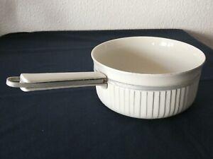Ancienne CASSEROLE porcelaine à feu Limoges blanche ALUMINITE No 6 bord cannelé
