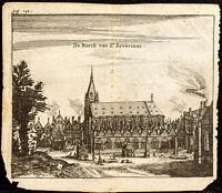1661 - Paris - Vue de l'Église Saint-Séverin - Gravure ancienne