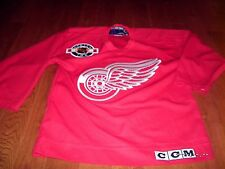Red Wings NHL Hockey youth DETROIT L/XL SEWN CCM CENTER ICE jersey shirt EUC
