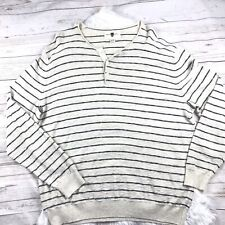 Black Brown 1826 Men's Black Beige Striped Long Sleeves 1/2 Button Sweater XXL A