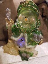 "Vintage Christmas deco-acrylic? W/glitter 8""H. Snowman w/christmas lites Ooak?"