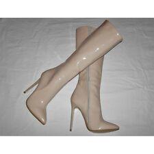 High Heels Stiletto Kniehoch Stiefel Beige Lack 13cm absatz in Gr. 39 oder 40