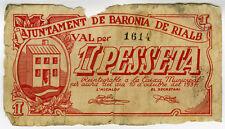 ☆ SPAIN CIVIL WAR 1937 • B. RIALB 1 PTA MUNICIPAL ☆ GUERRA CIVIL ESPAÑOLA ☆C5138