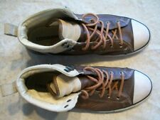 Converse All Star Mens 11.5 Womens 13.5 Brown Leather Tan Suede Hightops