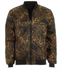 Versace Jeans Mens Black Gold Baroque Print Reversible Puffa Jacket size 52(XL)
