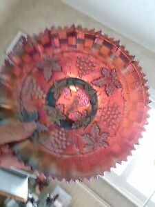 """""""NORTHWOOD"""" CARNIVAL GLASS BOWL - DEEP IRRIDESCENCE ON PINK?-GRAPE&CABLE BWEAVE"""
