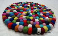 CU2 Hand Crafted Collectible Felt Ball wool Decorative 30 cm Cushion Round Rug
