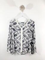 Ladies Mint Velvet Blouse V Neck Grey White Long Sleeve Blogger Career Sz 12