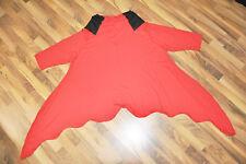 MYO - Lagenlook ° °long-bogen-wellen- Tunic Jersey °° Black-Red °° Oversize°