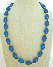 Vintage Art Glass Bead Necklace Deep Blue Oval and Swirl Beads Barrel Clasp 20""