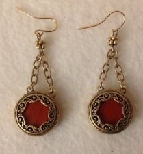 Filigree Round Chandelier Gold Colored Drop Earrings Chain Scroll Dark Orange