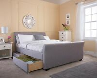 Fabric or Leather Sleigh Bedframe 4 Drawer Storage Option Silver Grey Brown
