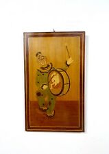 LARGE MID CENTURY MARQUETRY WALL ART CLOWN CIRCUS SCULPTURE TEAK PICTURE 1960