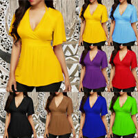 Plus Size Women V Neck Short Sleeve Summer Casual Blouse Loose T-Shirt Top Tee