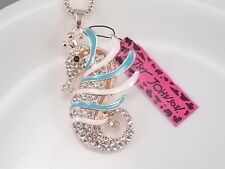 Betsey Johnson Cute inlay Crystal hippocampus Pendant Necklace # B152