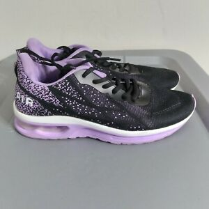 Women's Size 9 Running Shoes Black Purple White Athletic Training Low Sneakers
