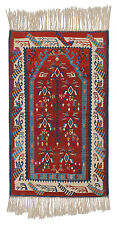 RRA 4x5 Turkish Kilim Village Prayer Geometric Plant Red Blue Rug 034635