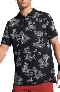 Nike Court Heritage Tennis Polo Shirt Black Skeleton PIque Cotton Medium