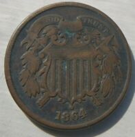 1864 Two Cent Piece 2 2c Very Fine VF Almost Extremely Fine XF EF Dark Patina