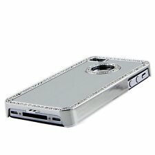 Apple iPhone 4 4S 4G Silver Chrome Bling Diamond Gem Luxury Hard Case Cover Skin