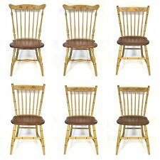 L. Hitchcock Windsor Chairs Set 6 Yellow Mustard Conn STENCIL Colonial Country