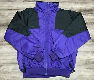 Vintage 90s Columbia Sportswear Purple Black Colorblock Full Zip Winter Jacket L