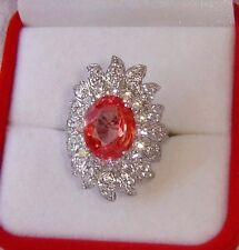 6.90 CT PINK ORANGE SAPPHIRE RING, SZ. 6 ~ WHITE GOLD/925 STERLING SILVER