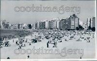 1969 Beach Crowd 1960s Montevideo Uruguay Press Photo