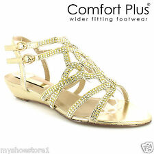 WOMENS LADIES BRIDAL SHOES WIDER FITTING BRIDESMAID WEDDING FORMAL PARTY SANDALS