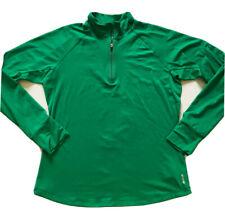 Reebok Womens Large Activewear Shirt Long Sleeve Green 1/4 Zip Arm Pocket